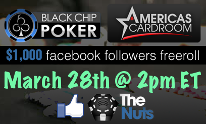 Facebook Followers Freeroll on Americas Cardroom and BlackChip Poker